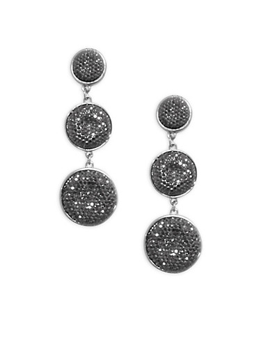 Rhinestone Circle Drop Earrings,SILVER,large