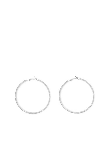 Rhinestone Hoop Earrings,SILVER,large
