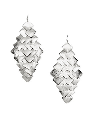 Tiered Geo Drop Earrings,SILVER,large