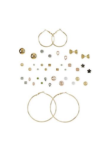Set of 20 Stud and Hoop Earrings,TRITONE (SLVR/GLD/HEMAT),large