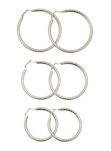 Metallic Tube Earrings,SILVER,large