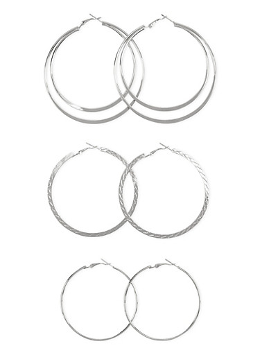 Set of 3 Hoop Earrings with Assorted Textures,SILVER,large