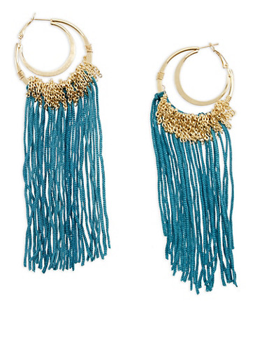 Double Gold Hoop Earrings with Chain and String Fringe,TEAL,large