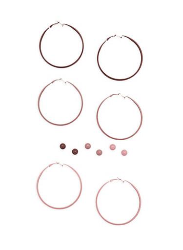Set of Painted Stud and Hoop Earrings,MAUVE,large