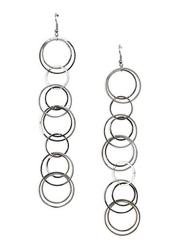 Circle Drop Earrings,SILVER,large