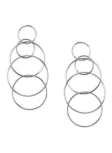 Linked Hoop Drop Earrings,SILVER,large