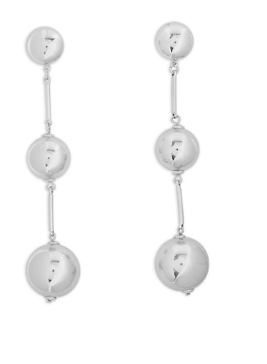 Metallic Ball and Stick Drop Earrings,SILVER,large