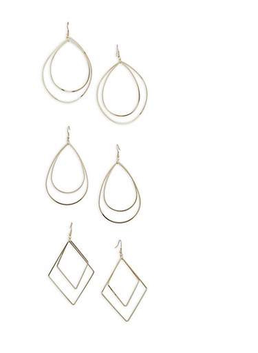 Trio of Metallic Geometric Drop Earrings,SILVER,large