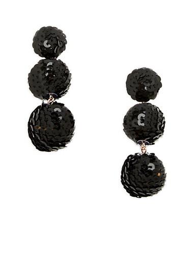 Sequin Ball Earrings,BLACK,large