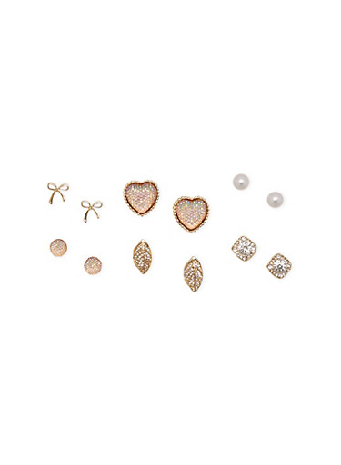 Set of 6 Assorted Stud Earrings,GOLD,large