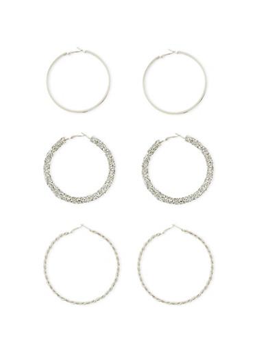 Glitter Rhinestone Twist Hoop Earrings,SILVER,large
