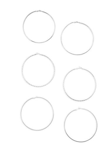 Set of 3 Oversized Hoop Earrings,SILVER,large