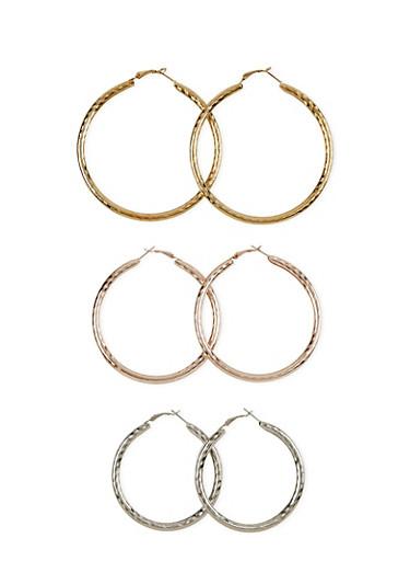 Set of 3 Textured Hoop Earrings,TRITONE (SLVR/GLD/HEMAT),large