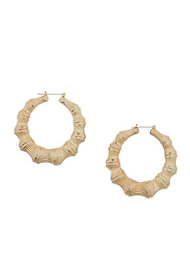 Large Bamboo Hoop Earrings,GOLD,large