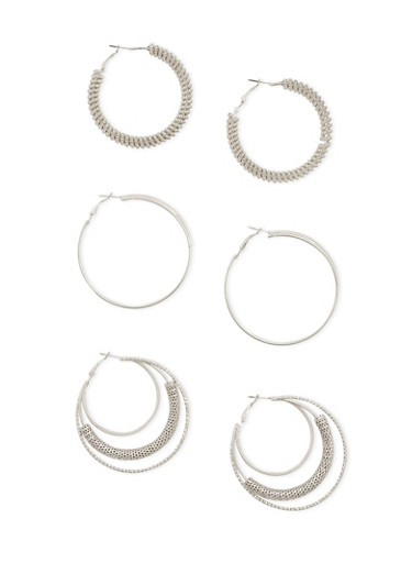 Set of 3 Layered and Twist Hoop Earrings,SILVER,large