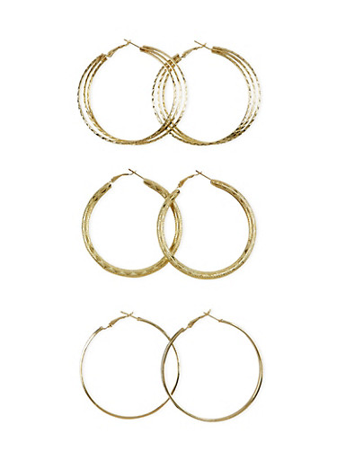 Set of 3 Textured Hoop Earrings,GOLD,large