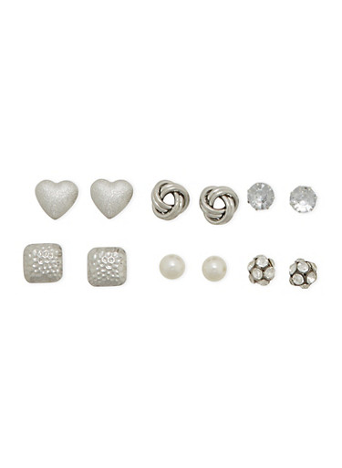 Set of 6 Assorted Stud Earrings with Knot and Rhinestone Designs,SILVER,large
