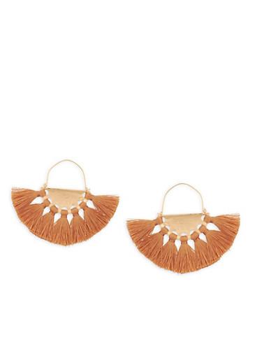 Metallic Fan Tassel Earrings,TAN,large