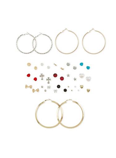 Set of 20 Stud and Hoop Earrings,GOLD,large
