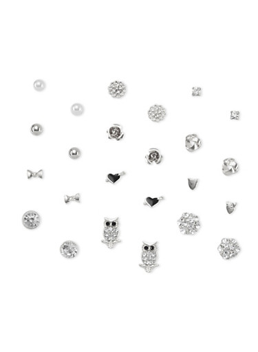 Set of 12 Stud Earrings,SILVER,large