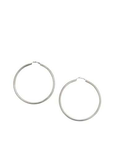 Jumbo Hoop Earrings,SILVER,large