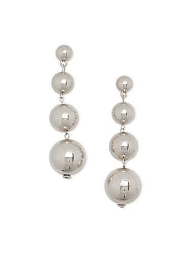 Metallic Ball Drop Earrings,SILVER,large