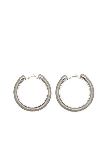 Thread Wrapped Hoop Earrings,SILVER,large