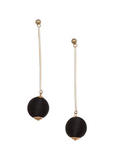 Thread Wrapped Bead Stick Earrings,BLACK,large