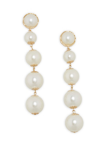 Faux Pearl Post Back Drop Earrings,IVORY,large