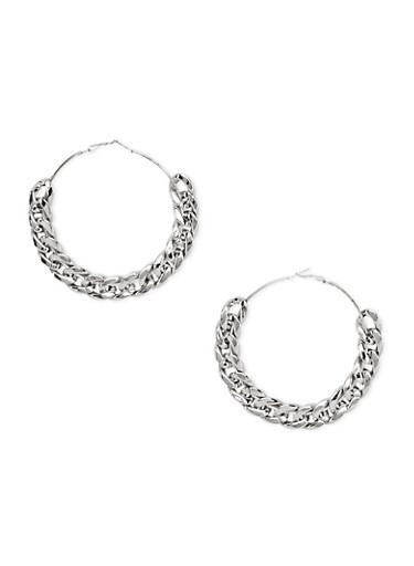 Curb Chain Hoop Earrings,SILVER,large
