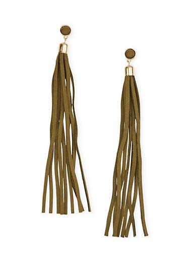 Tassel Earrings,OLIVE,large