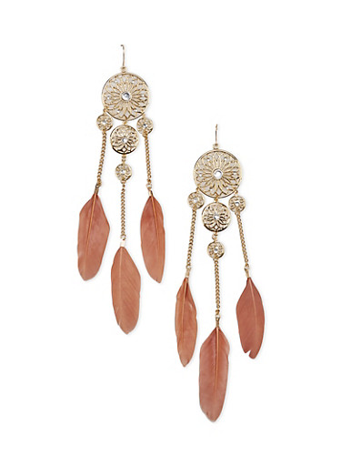 Studded Round Flower Drop Earrings with Feather Trim,TAUPE,large