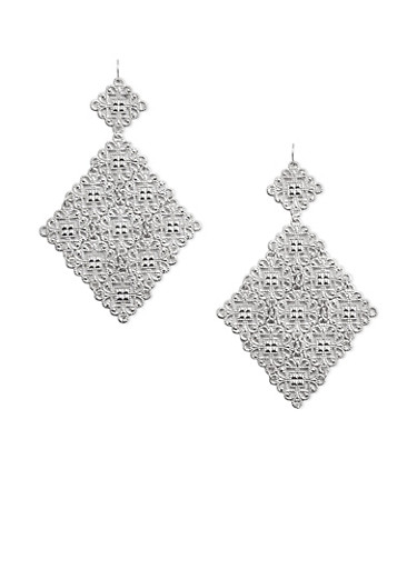 Filigree Diamond Shaped Drop Earrings,SILVER,large