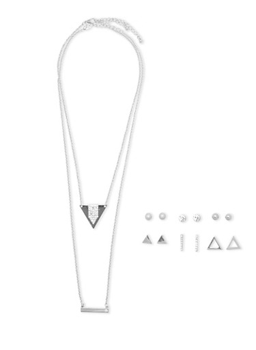 Set of 6 Assorted Stud Earrings and Layered Necklace,SILVER,large