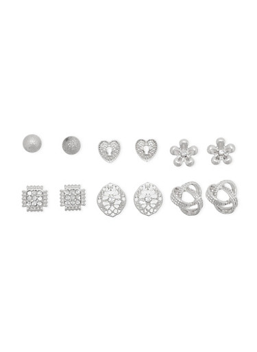 Set of 6 Assorted Stud Earrings with Heart and Flower Motif,SILVER,large