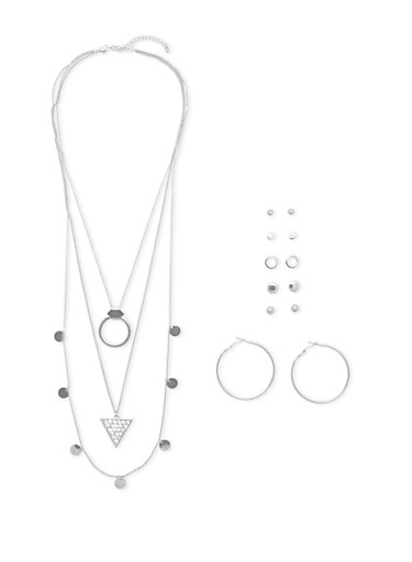 Assorted Earrings and Layered Necklace Set,SILVER,large