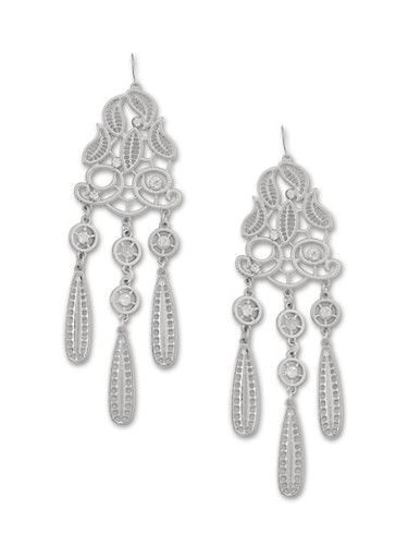 Filigree Chandelier Earrings with Crystals,SILVER,large