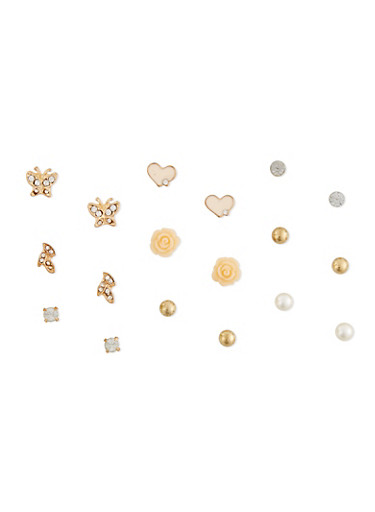 Set of 9 Assorted Stud Earrings,PEACH,large