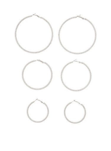 Textured Multi Size Hoop Earrings Trio,SILVER,large