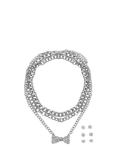 Rhinestone Cuban Link Set With Earrings,SILVER,large