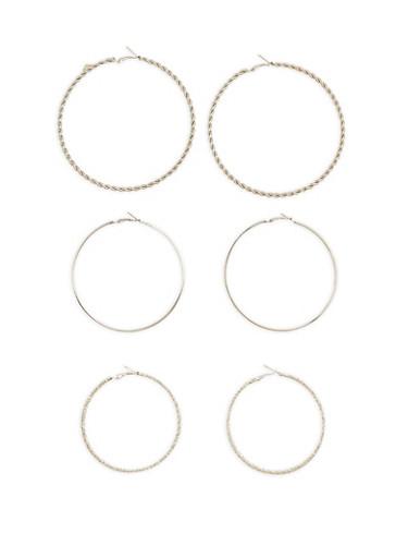 Trio of Textured Large Hoop Earrings,SILVER,large