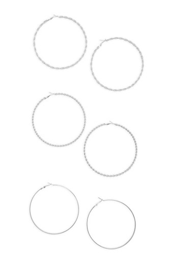 Set of 3 Twisted and Metallic Hoop Earrings,SILVER,large