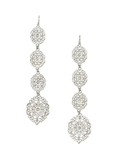 Duster Earrings with Filigree Design,SILVER,large