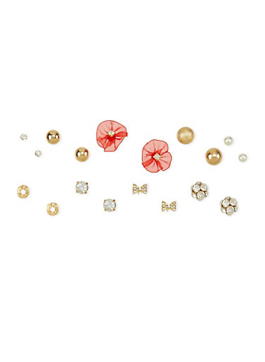 Set of 9 Stud Earrings,WINE,large