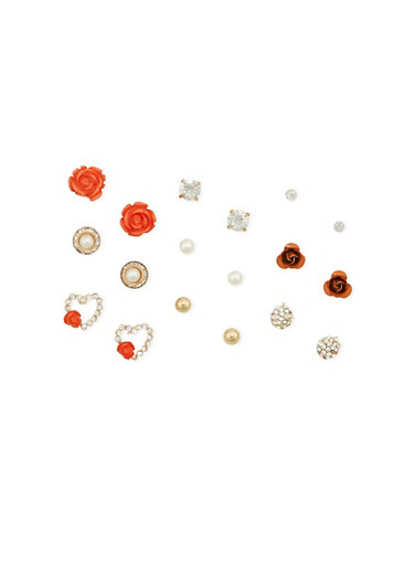 Set of 9 Assorted Stud Earrings,RED,large
