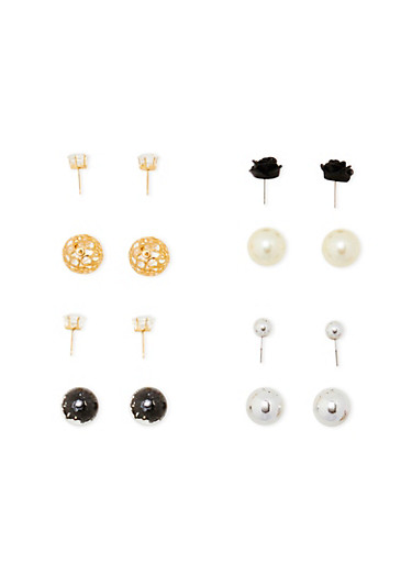Ball Stud Reversible Earrings,TRITONE (SLVR/GLD/HEMAT),large
