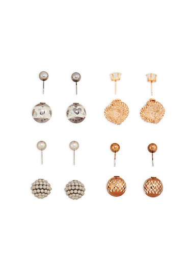 Metallic Cube Ball Reversible Earrings,TRITONE (SLVR/GLD/HEMAT),large