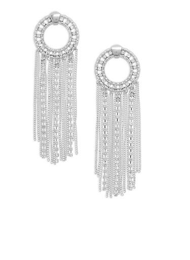 Circular Rhinestone and Fringe Drop Earrings,SILVER,large