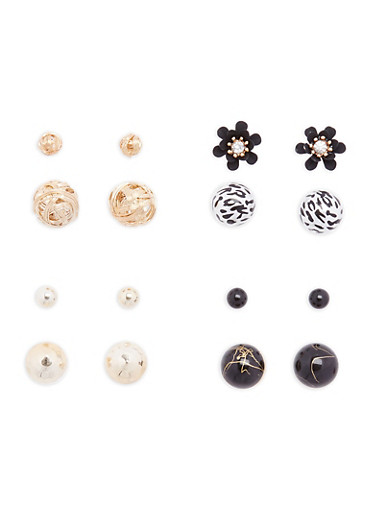 Set of 4 Reversible Stud Earrings,JET,large