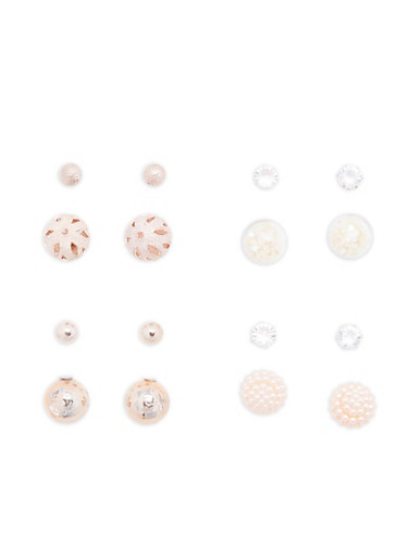 Set of 4 Faux Pearl and Glitter Reversible Earrings,ROSE,large